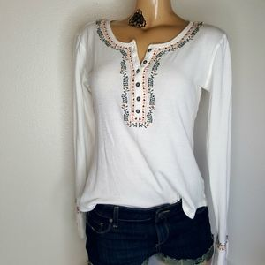 Lucky Brand novelty Henley embroidered top S